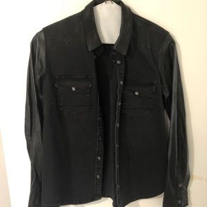 All Saints leather and jean button down!